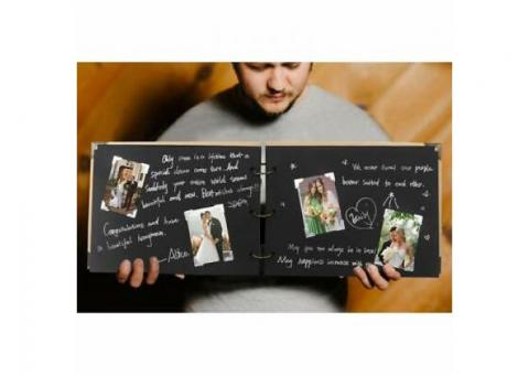 Handmade Wedding GuestBook Scrapbook Kit, 60 Pages Craft Paper Guest Book Photo Album