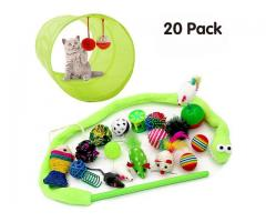 20Pcs Cat Toys Variety Pack for Kitten with a collapsible Cat Tunnel Teaser Wand