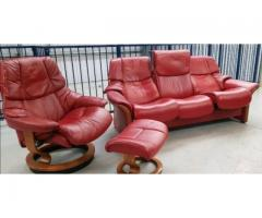 Ekornes stressless Red 3 seat recliner & 1 x chair recliner and  stool