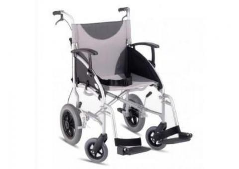 Z-Tec Lightweight Folding Aluminium Transit Wheelchair in Grey