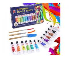 12 Colours Acrylic Paint Set Premium Acrylic Paints for Fabric Glass Wood Canvas