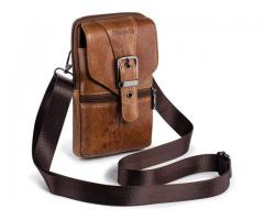 Get 35% off on Men's Holster Mobile Phone Case Belt Bag Small Waist Bag Leather Messenger Shoulder B