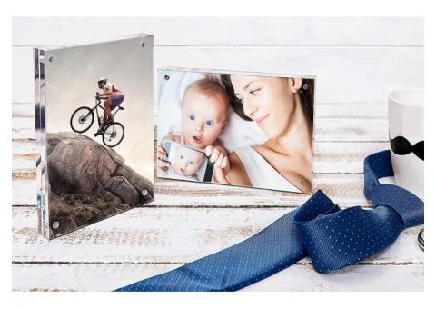 Photo Frame with magnets [2-pack, 5x7]. Frameless Acrylic Picture Frame