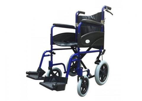 Z-Tec Folding Aluminium Transit Wheelchair With Hand Brake