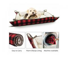 2 in 1 Washable Soft Cushion Basket Bed for Dogs Puppy Cats Plush Sherpa Lining