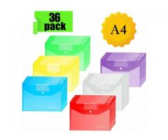 Plastic Wallets Folders 36 Pack A4 Document Folder Plastic Popper Wallet
