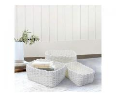 Storage Boxes Baskets White Set 3 Made of Paper ECO Materail Stackable Closet