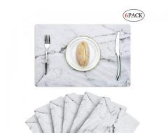 6pcs PVC Place Mats Kitchen Dinning Room Potholder Washable Placemats Non Slip