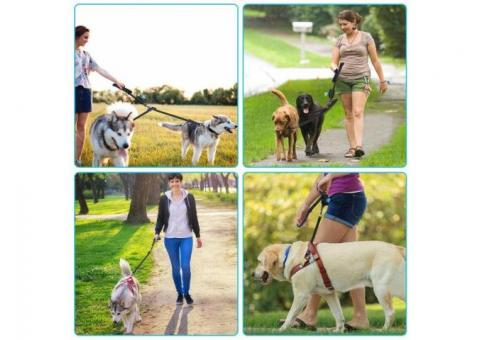 Two Dogs Leash Pouch Adjustable Dog Walking Comfort Grip Dual Padded Handles