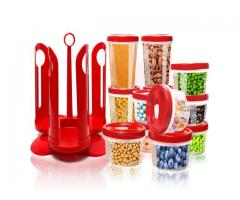 25 Piece Food Storage Container Set with Rotating Rack Durable Plastic Canister